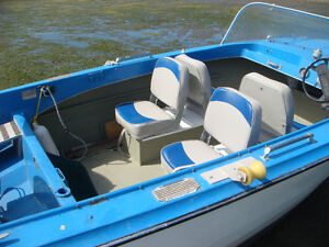 A 15 FT. 4 SEATER K & C OUTBOARD MOTOR BOAT plus Trailer