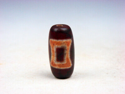 Old Tibetan Natural Agate Cinnabar Heaven & Earth Pattern Dzi Bead #01112009