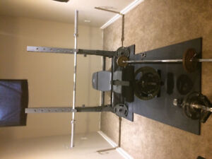 Bench press and curl bar. Olympic size weights and bar