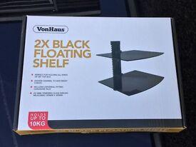 Von Hous 2x Black Floating Shelf