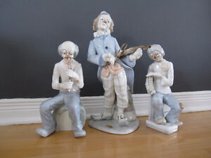 Tengra porcelain, set of 3 musicians clowns