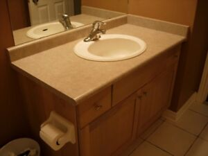 Bathroom vanity with faucet,and sink.