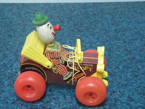 """Vintage """"Fisher-Price"""" JALOPY, Clacker, Bobble Head PULL TOY"""
