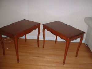 SOLID WOOD MID-CENTURY COUCH END TABLES