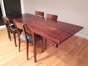 Hard wood dining table and chairs