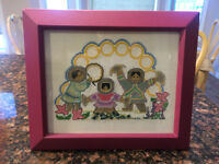 Hand Made Framed Cross Stitch Picture - Great for Girl's Room
