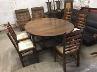 Drop leaf oak table and 6 chairs