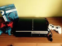 Sony PS3 with three controllers and one headset