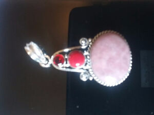 New lepidolite red coral red garnet pendant 925 sterling silver