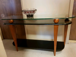 Console and coffee table black and wood colour