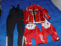 cold weather winter cycling clothes thermal pants jacket bibs L
