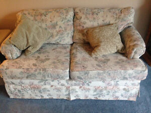 Floral sofa, loveseat, chair
