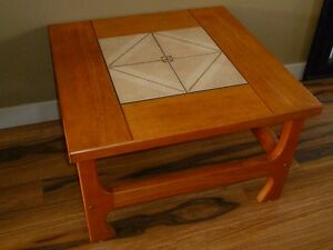 Teak Tables with Inlaid Tiles