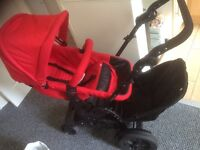 REDUCED!!! Tandem travel system. Double pram, car seat, Buggy board included
