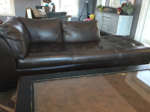 Genuine leather brown sectional couch. 7 ft. 6 inches .