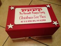 Family Christmas Eve boxes - wooden. Filled with treats! Children's gift present.