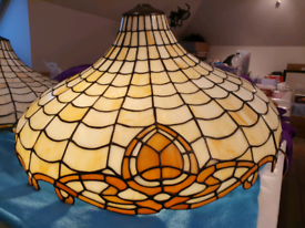 Two matching Tiffany stained glass pendant light shades