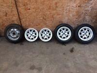 "12"" classic mini alloy wheels ultralites 12x5"" cooper mpi rover"
