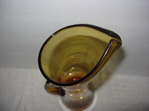 Tall Clear Amber Art Glass Vase London Ontario image 3