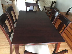 Solid birch dining table with chairs