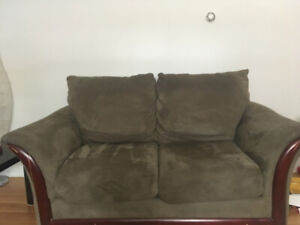Plush microfiber loveseat couch