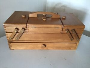 Vintage Wooden Accordion Fold Out Sewing Box