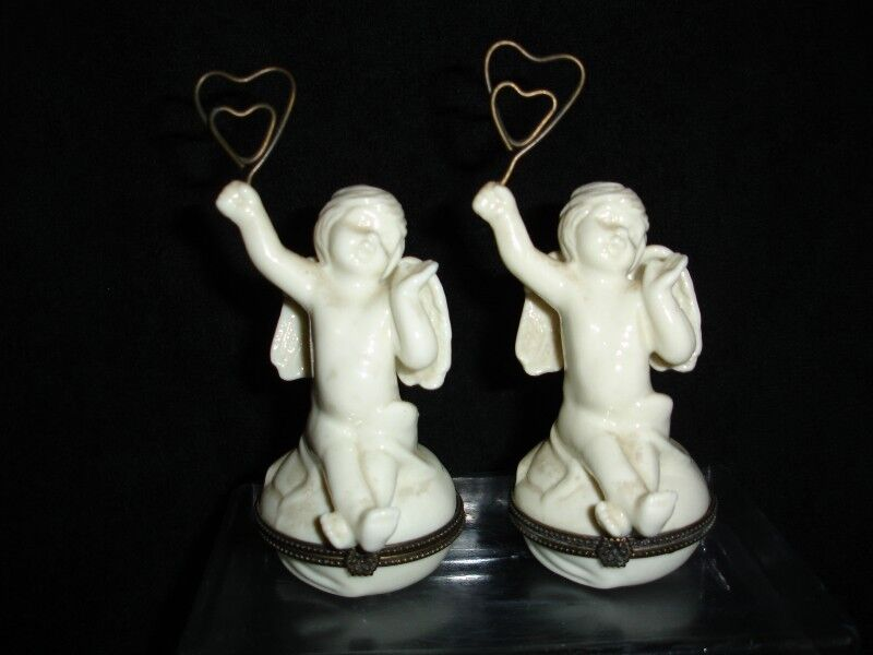 Vintage Rare Pair of  Kromer Porcelain Cherubs Hinged Trinket Box