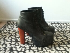 Jeffery Campbell Lita Platform Leather Boots - worn once