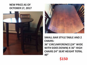 BAR STYLE DINING TABLE WITH TWO CHAIRS