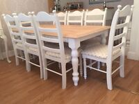 Lovely 6ft Shabby Chic Chunky Farmhouse Oak Table And 8 Lovely Chairs