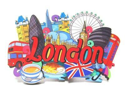 London Wood 2D Magnet all Sights Incl.gurkin Souvenir Great Britain, New