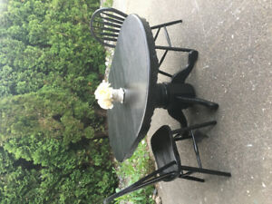 Solid Wood Table with leaf and 2 chairs