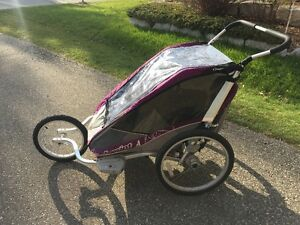 Double Chariot Stroller with running, bike and ski attachements