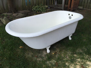 "Porcelain Enamelled Cast Iron Claw Foot Bathtub  60"" $650 PickUp"