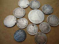 120+ years old Seated liberty silver coins.