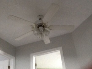 "Large 50"" white ceiling fan with lights"