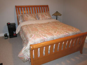 Beautiful Queen Sleigh Headboard, Footboard & Siderails
