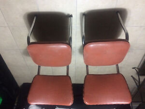 2 retro steel frame chairs