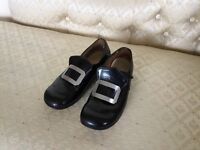 Pr of child's 11 1/2 black page boy wedding shoes