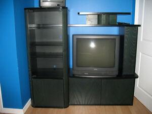 2 meubles de television avec la tele
