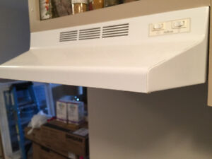 """24"""" inch apartment size over the range/stove white hood fan"""
