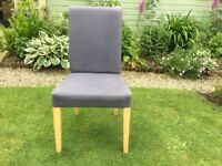 Blue fabric covered CHAIR