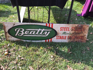 RARE VINTAGE BEATTY METAL SIGN