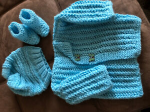 baby sweater, booties and the hat