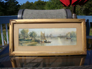 Antique Large Print 26  x 12.5 inch Plaster Frame Metal Accents