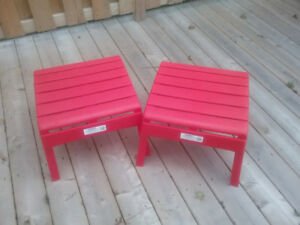 Red Patio Ottomans