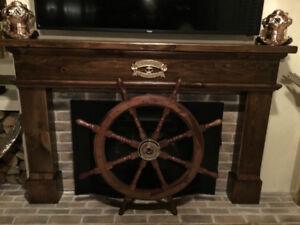 Roue de bateau bois moyeu brass 36 pouces