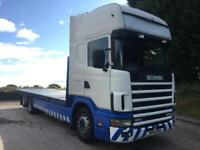 2004 54 Scania 124 420 Topline 6x2 28ft flat VBG draw bar, manual