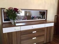 Brown and white chest of drawers