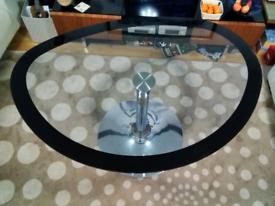 Reduced Price !! Italian Designer Glass Table with Black Rim